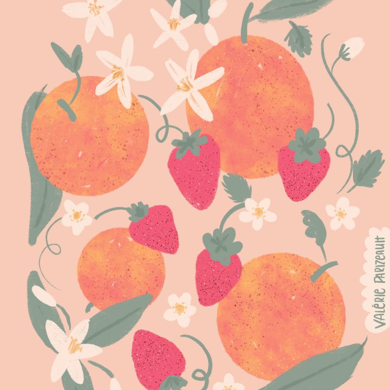 Orange and strawberries